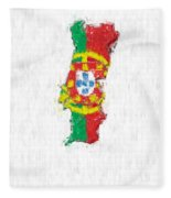 Portugal Painted Flag Map Fleece Blanket