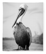 Posing Pelican - Black And White Fleece Blanket