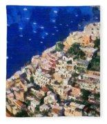 Positano Town In Italy Fleece Blanket