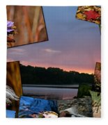 Postcard Autumn Memories Fleece Blanket