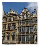 Postcard From Brussels - Grand Place Elegant Facades Fleece Blanket