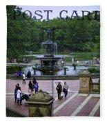 Postcard From Central Park Fleece Blanket
