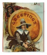 Postcard Of Pilgrim Plucking A Turkey Fleece Blanket