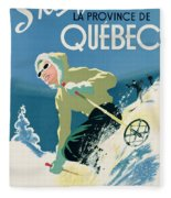 Poster Advertising Skiing Holidays In The Province Of Quebec Fleece Blanket