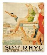 Poster Advertising Sunny Rhyl  Fleece Blanket