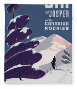 Poster Advertising The Canadian Ski Resort Jasper Fleece Blanket