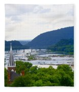 Potomac River At Harpers Ferry Fleece Blanket
