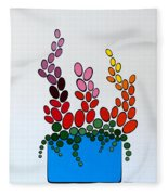 Potted Blooms - Blue Fleece Blanket
