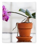 Potted Pink Orchid Fleece Blanket