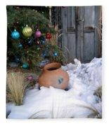 Pottery In Snow At Xmas Fleece Blanket
