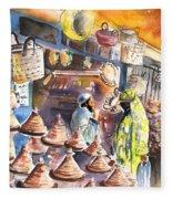 Pottery Seller In Essaouira Fleece Blanket