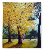 Poui Trees In The Savannah Fleece Blanket