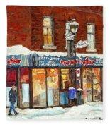 Poutine Lafleur Rue Wellington Verdun Art Montreal Paintings Cold Winter Walk City Shops Cspandau   Fleece Blanket