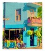 Powder Blue Corner Cafe Elses Pub Rue Roy  Montreal Sunny Summer Cafe Scene Carole Spandau Fleece Blanket