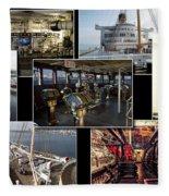 Power Collage Queen Mary Ocean Liner Long Beach Ca 01 Fleece Blanket
