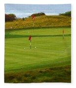 Practice Green At Spanish Bay Detail Fleece Blanket