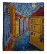 Prague A La Vangogh Fleece Blanket
