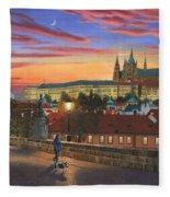 Prague At Dusk Fleece Blanket