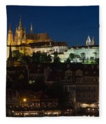 Prague  Castle At Night Fleece Blanket