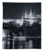 Prague Castle At Night Fleece Blanket