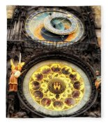 Prague Clock Orloj Fleece Blanket