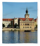 Prague East And Charles Bridge Fleece Blanket