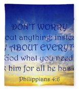 Pray About Everything 1 Fleece Blanket
