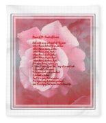 Prayer Of St. Francis And Pink Rose 2 Fleece Blanket
