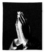 Praying Hands Black And White Glow Fleece Blanket