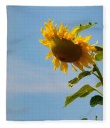 Praying Sunflower Fleece Blanket by Nancy De Flon