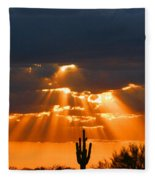 Pre Sunset Sky With Saguaro Fleece Blanket