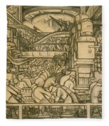 Presentation Drawing Of The Automotive Panel For The North Wall Of The Detroit Industry Mural Fleece Blanket