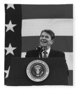 President Reagan American Flag  Fleece Blanket