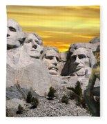 President Reagan At Mount Rushmore Fleece Blanket