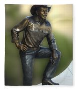 President Ronald Reagan Statue Fleece Blanket