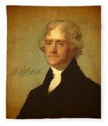 President Thomas Jefferson Portrait And Signature Fleece Blanket