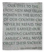 President Truman's Dedication To World War Two Vets Fleece Blanket