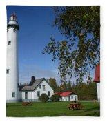 Presque Isle Mi Lighthouse 4 Fleece Blanket