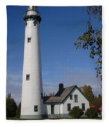 Presque Isle Mi Lighthouse 5 Fleece Blanket