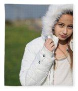 Preteen In White Coat  Fleece Blanket