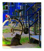 Pretty Cat In Verdun Taking The Sun Blue Picket Fence And Bike Montreal Garden Scene Carole Spandau  Fleece Blanket