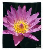 Pretty In Pink And Yellow Water Lily Fleece Blanket