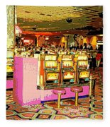 Pretty In Pink Bar Stools And Slots Reserved For Spring Break High Rollers   Fleece Blanket