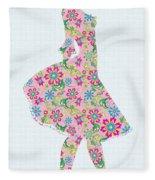Pretty In Pink Flower Girl Fleece Blanket