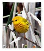 Pretty Little Yellow Warbler Fleece Blanket