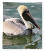 Pretty Pelican In Pond Fleece Blanket