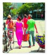 Pretty Pink Summer Dress Sunny Stroll Licari St Denis Scene Montreal Bike Racks And Flowers Cspandau Fleece Blanket