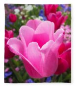 Pretty Pink Tulip And Field With Flowers And Tulips Fleece Blanket