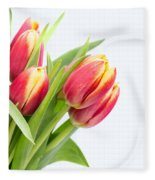 Pretty Red And Yellow Tulips On White Background Fleece Blanket