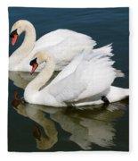 Pretty Swan Pair Fleece Blanket